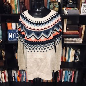 Garage Cream Fair Isle Long Sweater